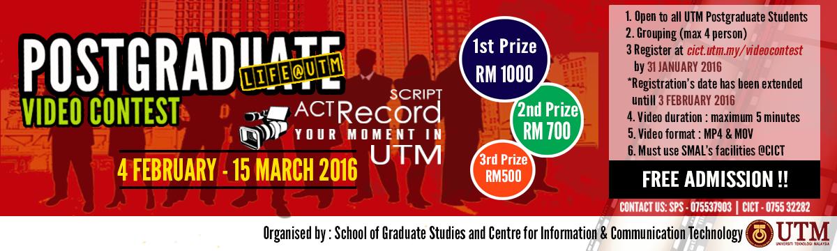 Postgraduate Video Contest – Life@UTM