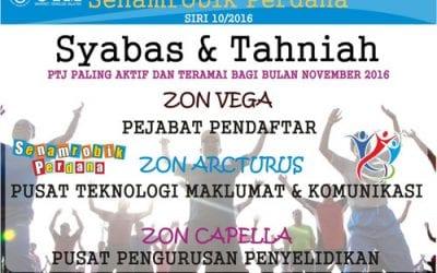 Tahniah CICT, PTJ Paling Aktif Senamrobik Perdana Siri 10/2016